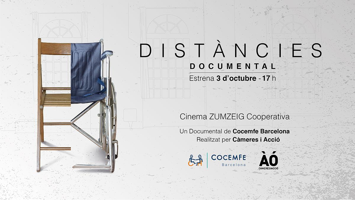 Imagen del cartel del documental 'Distancias' promovido por COCEMFE Barcelona.